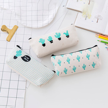 Brief Style Green Cactus Canvas Large Capacity Pencil Bag Stationery Storage Organizer Pencil Case School Supply Pen Box Bag New