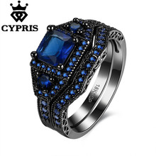 Cool 2017 Crystal Couple Ring Black Gold Color Engagement Jewelry Wedding Rings wholesale price Women ring cz(China)