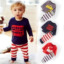 HOT 2016 Cotton Children cartoon Baby Boys clothes set kids Clothing suit bear t shirt+Pants 2Pcs/set