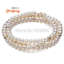 [MeiBaPJ] REAL PEARL Fashion Freshwater Pearl Necklace 5-6mm Size Nice Charm Necklace White Pearl Jewelry Nice Gift
