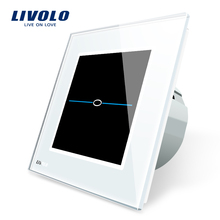 Livolo EU Standard Touch Switch, AC 220-250V VL-C701-31,White Crystal Glass Panel, Wall Light Touch Switch With LED Indicator(China)