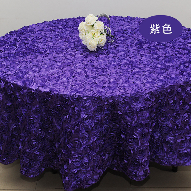 Purple Rose Flower Tablecloths Wedding Round Table Cloth Overlays Decoration Banquet Party Cover