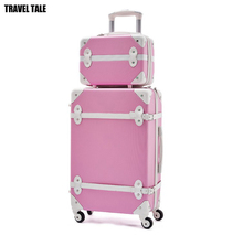 TRAVEL TALE 13,18,22,24,26 inch solid women vintage rolling luggage sets,cute Travel suitcase set,spinner,ABS
