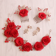 1 Set Red Flower Leaf Hair Comb Bridesmaid Headdress Bride Rhinestone Headpiece Wedding Hair Flower Bridal Hair Accessories(China)