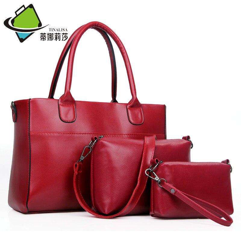 2016 new Fashion bag set 4Pcs women messenger bags +handbags +shoulder bags wristlet purse wallets famous brands solid  leather<br>