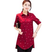 Spring Casual New Cotton Blend Fish Print Red Ladies Shirts For Girls Long Navy Blue Long-sleeve Plus Size Loose Shirt Tops 4XL