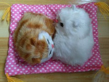 small cute simulation yellow and white cat dolls polytene & fur cat models on a mat gift 16x12cm