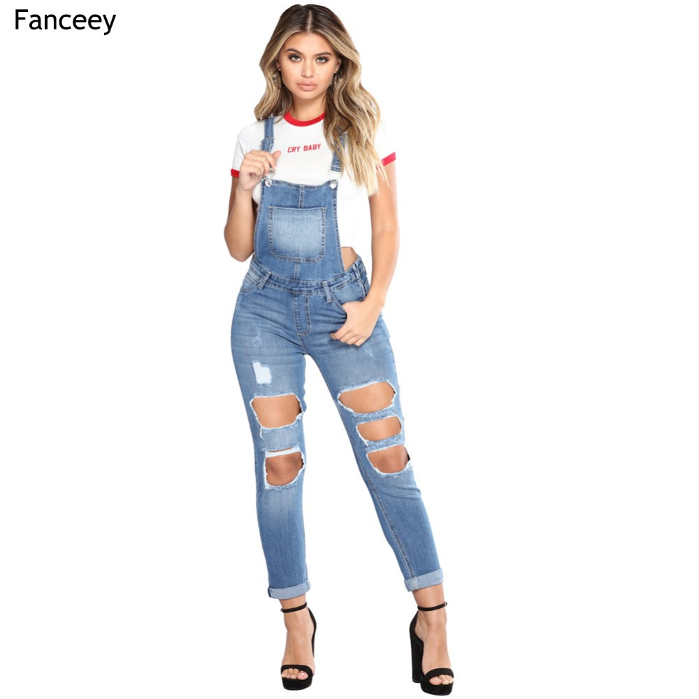 2019 Summer Hot Fashion Clothes Women Overalls Jumpsuits Solid Hole Jeans Suspender Trousers Loose Slim Thin Girl Denim Jumpsuit