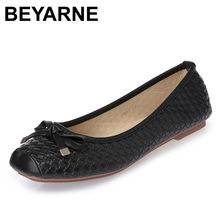 BEYARNE Free Shipping New Fashion Designer Women's Genuine Leather Bow Soft Bottom Flat Shoes For Women Black Big Size EUR 35-41(China)