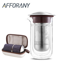 Afforany Creative Tea Filter Glass Glass Bottle Set Outdoor Glass Drinkware Tea Filter Clear Tea Water Bottle Gift Portable Bag(China)