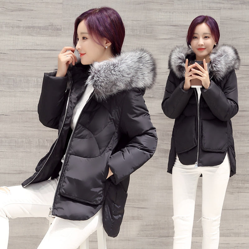 2017 Abner Women Down Cotton Asymmetric Jacket Winter Solid Fur Hooded Outerwear Medium-long Overcoat Parka Coats FemaleОдежда и ак�е��уары<br><br><br>Aliexpress