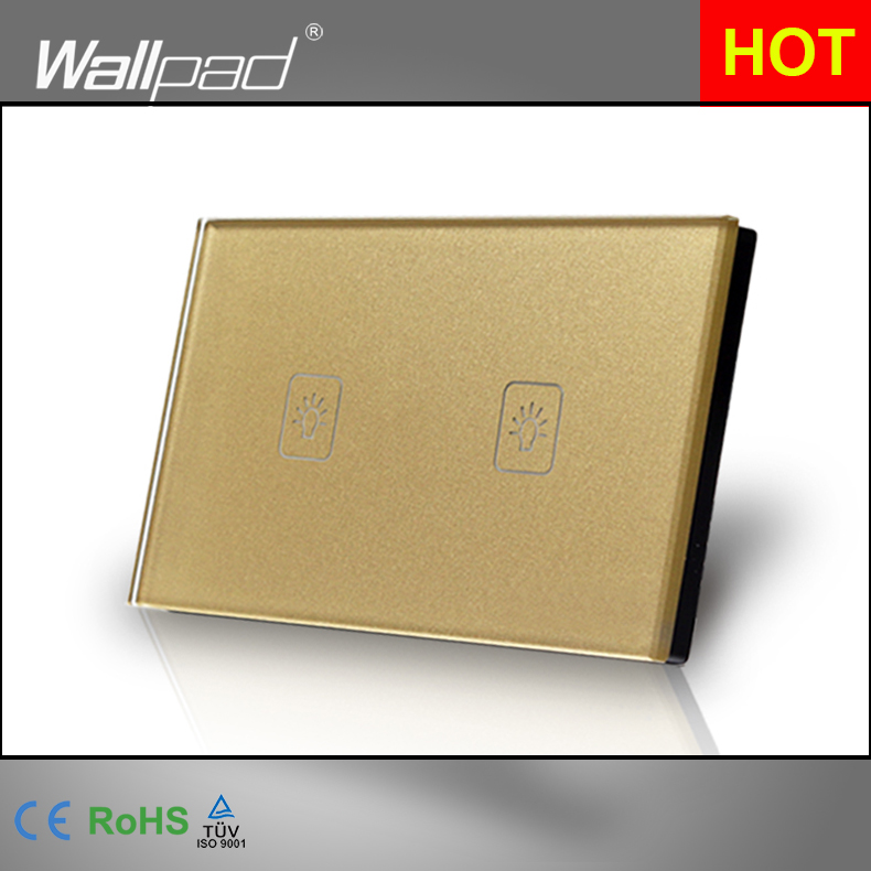 2 Gang 2 Way 3 Way Gold AU US Standard Switch Button 118*72mm Wallpad Crystal Double Control Touch Wall Switch,  Free Shipping<br><br>Aliexpress
