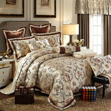 Collection bedding sets Queen King Size Bed-In-A-Bag Silk Satin Cotton blend Jacquard Pattern Duvet Cover set