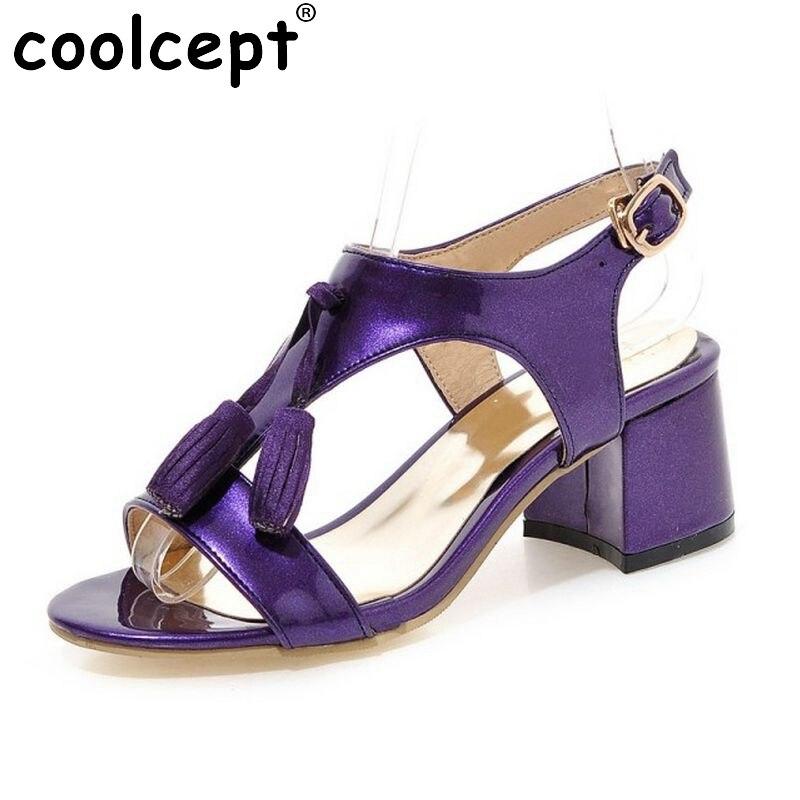 Woman Square Heel Shoes Women Fashion Tassel High Heel Sandals Female Buckle Strap Footwear Heeled Shoes Size 31-43 PA00814<br><br>Aliexpress