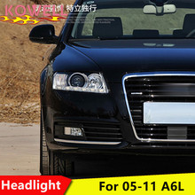 KOWELL Car Styling for Audi A6 C5 Headlights 2005-2012 A6 LED Headlight DRL Lens Double Beam HID KIT Xenon bi xenon lens(China)