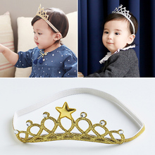2016 Children 2 color Hair Accessories Princess Tiara scrunchy Headband Baby Crown Headwear Star Crown Toddler Elastic Headband
