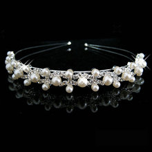 shiny crystal rhinestone pearl bandage a silver wedding party well tiara hair bands bridal hair accessories flower girl Hairwear