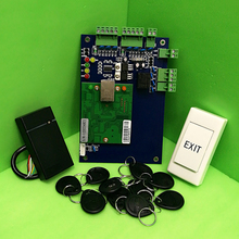 TCP/IP One Door RFID Access Control System Single Door Access Panel LAN Interface Access Controller+ Rfid Reader + eixt Button(China)