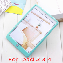 Hot Sale Jelly Bean Cute Smart Soft Silicone Rubber Protective Case for apple ipad 2 3 4 Children Soft Silicone Case Cute case(China)