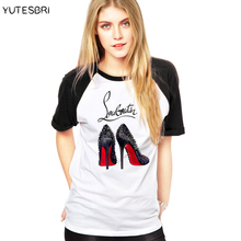 Buy High-heeled shoes Fashion women top tees brand big size T Shirt Women cotton Casual t-shirt Femme Woman punk blusa for $8.94 in AliExpress store