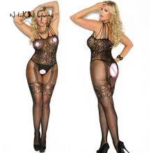 Sexy Erotic Lingerie Women Hot Open Crotch Fishnet Sexy Costumes Bodystocking Plus Size Lenceria Erotica Mujer Sexi Teddy QQ084(China)
