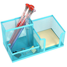 Space Saving Mesh Office Supplies Desk Organizers/Pen Holder/Cell Phone Holder/Cosmetic Holder 3 Sorter Sections Blue(China)