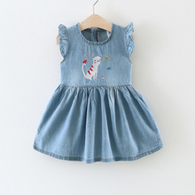 The Girl Wearing 2017 Summer Style Children'S Outfit The Cat Small Fish Petals Sleeve The Cowboy Dress The Children's Clothes