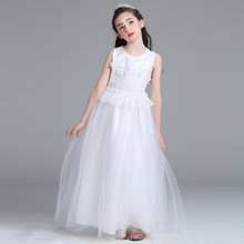 SAMGAMI BABY Girl`s Long Dress White Lace Flower Wedding Robe Dress Children Clothing Sleeveless Princess Girl Flower TUTU Dress
