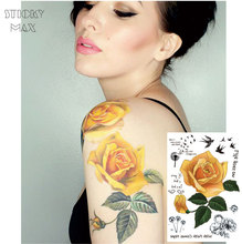 W05 1Piece Yellow Rose Big Sleeve Tattoo with Dandelion, Swallow,life goes on quote, Peony Design