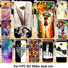 TAOYUNXI Silicone Phone Case For HTC ONE M7 802W Dual Sim 802D 802T 4.7 inch Case TPU Cartoon Colorful Painting Cover