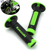 Motorcycle Dirt Bike Rubber Brake Hand grips For Kawasaki KX KLX KFX KDX 65 80 85 125 250 250 450 450 150 F/R/S Kawasaki logo(China)