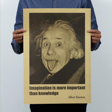 Retro Creative Design Einstein Kraft Paper Poster Imagination Is More Important Than Knowledge Bar Nostalgic Cafe Wall Sticker(China)