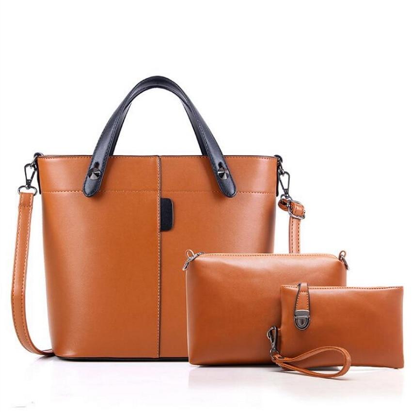 European 2ps/set Women Casual Leather Top-handle Handbag Shoulder Bag Ladies Messenger Crossbody Bag Composite Bag Clutch Wallet<br>