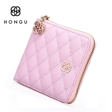 HONGU Lovely Mini Wallets Coin Card Bags Split Leather Women Clutch Purse Zipper Pocket Credit Card Holder High Quality(China)