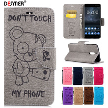 Desyner PU Leather Flip Case For Nokia 6 Case lovely Cute Bear Print pattern Cover Case with Stand Card slot Wallet bag