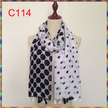 2017 new design cotton voile polka dot head tassel scarf women shawl wrap hijab,125 colors