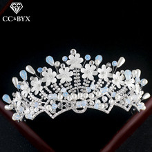 CC Tiaras And Crowns Ethnic Style Crystal Beads Hollow Design Flower Wedding Hair Accessories For Bride Engagement Jewelry cx006(China)