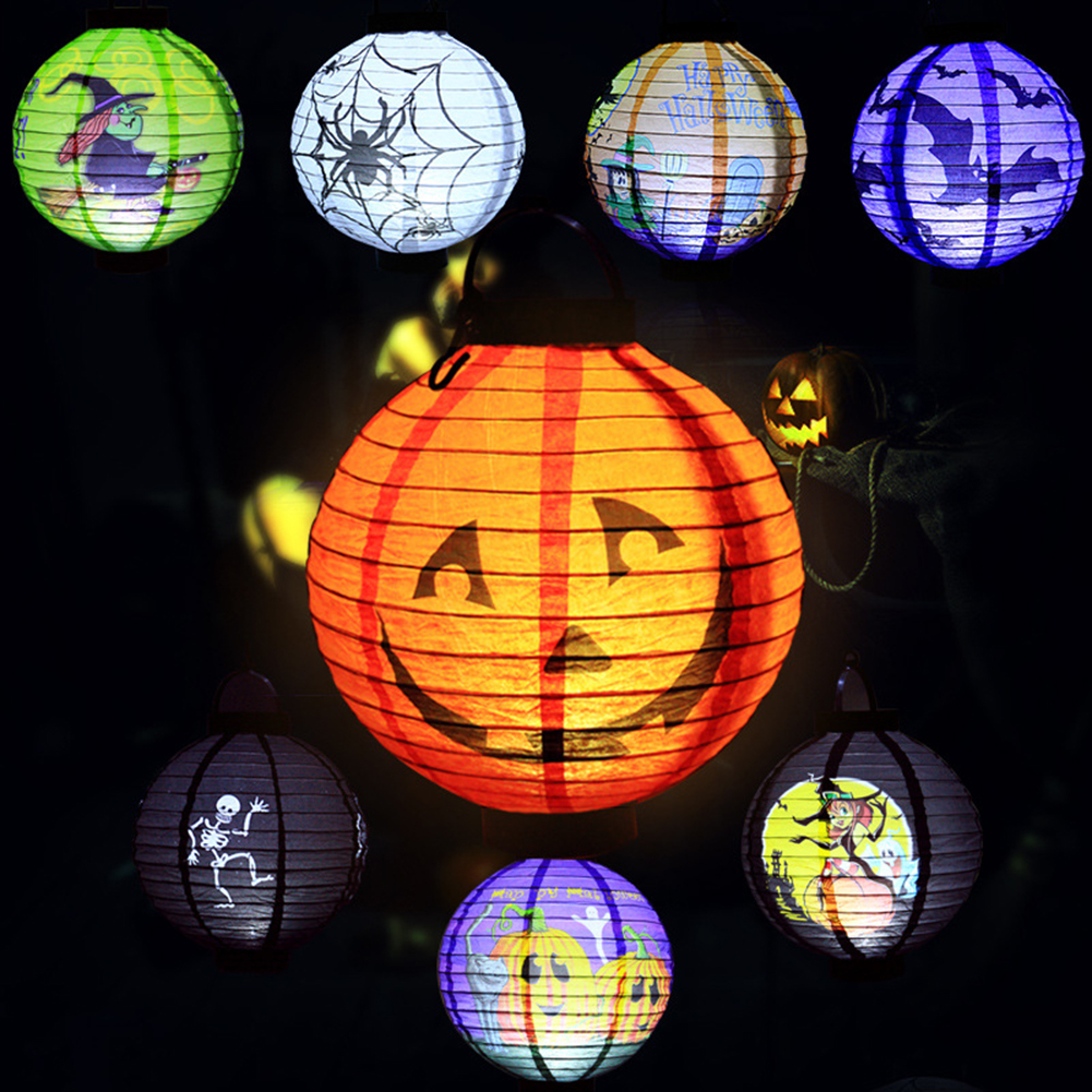 Pack of 8 Halloween Decorations Paper Lanterns with LED Light - Skeleton,Bats,Witch,Spiders,Pumpkin Halloween Pumpkin Lantern(China (Mainland))