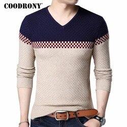 COODRONY/2019 осень-зима, теплые шерстяные свитера, повседневные, модного цвета, в стиле пэчворк, пуловер с v-образным вырезом, мужской бренд, прита...
