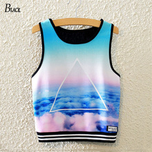 BLACK Brand Harajuku Sky Printed Crop Tops Women's Fashion Summer Tank Top Sleeveless Triangle Sky Blue Slim T-shirts