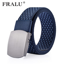 FRALU 2017 Canvas Tactical Casual Belts Men's Fashion Cloth Belts Male Knitted Waistband Ceintures Homme(China)