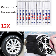 12pcs White Waterproof Permanent Car Tyre Tire Tread Marker Pen Paint Wheel Tire Pen Art Markers Office School Art Supplies(China)