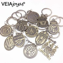 Vintage Spanish La Liga Football Club KeyChain Europe's Football leagues 2017 Hot Soccer Club Logo Bronze Key Chain chaveiro Men(China)
