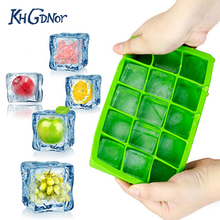 DIY Creative Big Ice Cube Mold Square Shape Silicone Ice Tray Fruit Ice Cube Maker Bar Kitchen Accessories(China)