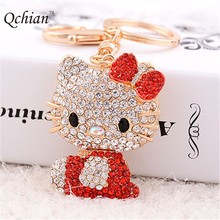 Cute Cartoon Hellokitty Rhinestone Crystal Metal Car Keyring and Wallet Bag Ornaments Keychain Key Holder for Kid's Gift(China)