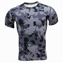 Men T-shirt 2016 Base Layer Camouflage T Shirt Fitness Tights Quick Dry Shirts Tops & Tees Crossfit Compression Shirt