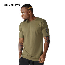 HEYGUYS cotton t shirts mens new summer street wear hip hop T-SHIRTS 2017 brand fashion zipper on sleeve t-shirts pure color(China)