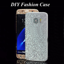 New Full Body Decal Skin Glitter Diamond sticker For samsung S7 S6 edge or Plus S5 A3 A9 A710 A510 Fashion Case For Note 5/4/3