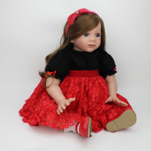 24 Inches Reborn Toddler girl Doll brown long hair wig red dress princess fashion Dolls For children