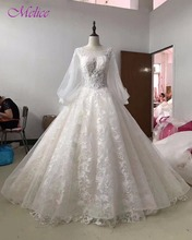 Buy Melice Scoop Neck Appliques Lace Court Train Ball Gown Wedding Dresses 2017 Fashion Lantern Sleeve Wedding Gown Vestido de Noiva for $263.99 in AliExpress store